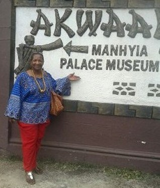 Mrs. Teresa R. Kemp at the Ashanthene's Manhyia Palace Museum in Kumasi Ghana. Researching the UGRR Quilt Code symbols and the languages in my families Quilts.