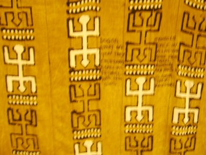 Dogon Mud cloth strip quilt top in the UGRR Secret Quilt Code Museum West African Collection