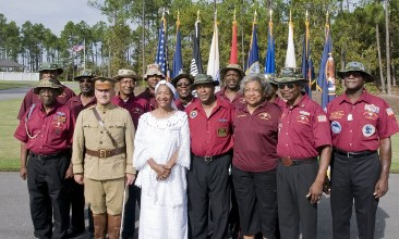 Camp Jackson Nation Cemetery near Columbia SC Wreath Laying for the 371st Colored Troops, General Pershing reinactor, Vietnam Veterans Group and Ms. Kemp military historian. ( 12 black & white relatives of her family fought in the 371st Colored troops.