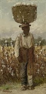 Photo of American field hand walking with a full basket on his head. It is the same technique used by Africans and  was used by the Gullah Geechee coastal people. We can still make baskets.