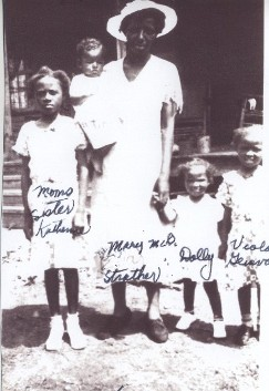 Mary Eva Strother holding baby Benjamin, with Doll (Serena) & Viola (Geneva) on the right and Mary's younger sister Catherine McDaniel on the left.