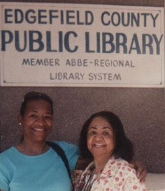 Teresa R. Kemp with her mother Serena Strother Wilson at the Edgefield Historical Society in Edgefield SC where Serena's grandfather David Richardson Strother was the Rockhill plantation owner on a SC research trip.