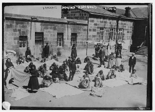 Shown in this photo European Armenians made quilts as a community. This photo says they are making 2,500 quilts.
