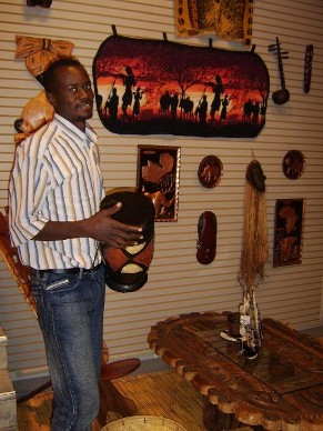 Zambia Handicraft Association sent carved woods, semi-precious stone items, jewelry,  painting, textiles, Zulu Animal skin artifacts, masks, musical instruments, copper pictures,  weapons and more with the Kosa's to help interpret and document the Zambian culture.