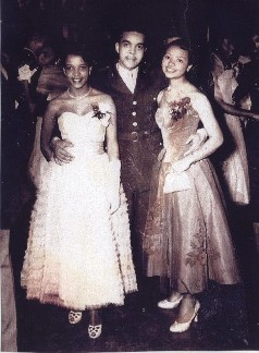 Pictured on the far right, Serena Strother Wilson was selected as Ms. ROTC at West Virginia State College in 1955. Shown here at the ROTC Annual Ball.