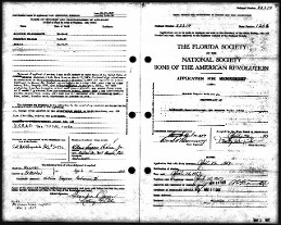 Approved Son's of American Revolution record of Patriot George Strother FL Application