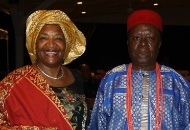Mrs. Teresa R. Kemp with His Royal Majesty - The traditional ruler of Awka, Obi Gibson at the 1st World Igbo Arts & Cultural Festival in Igbo Village at the Frontier Museum in Staunton Virginia USA