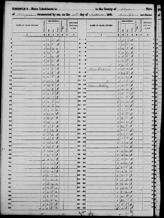 William Dover Jenkins Slave Schedules of the 1850 US Census
